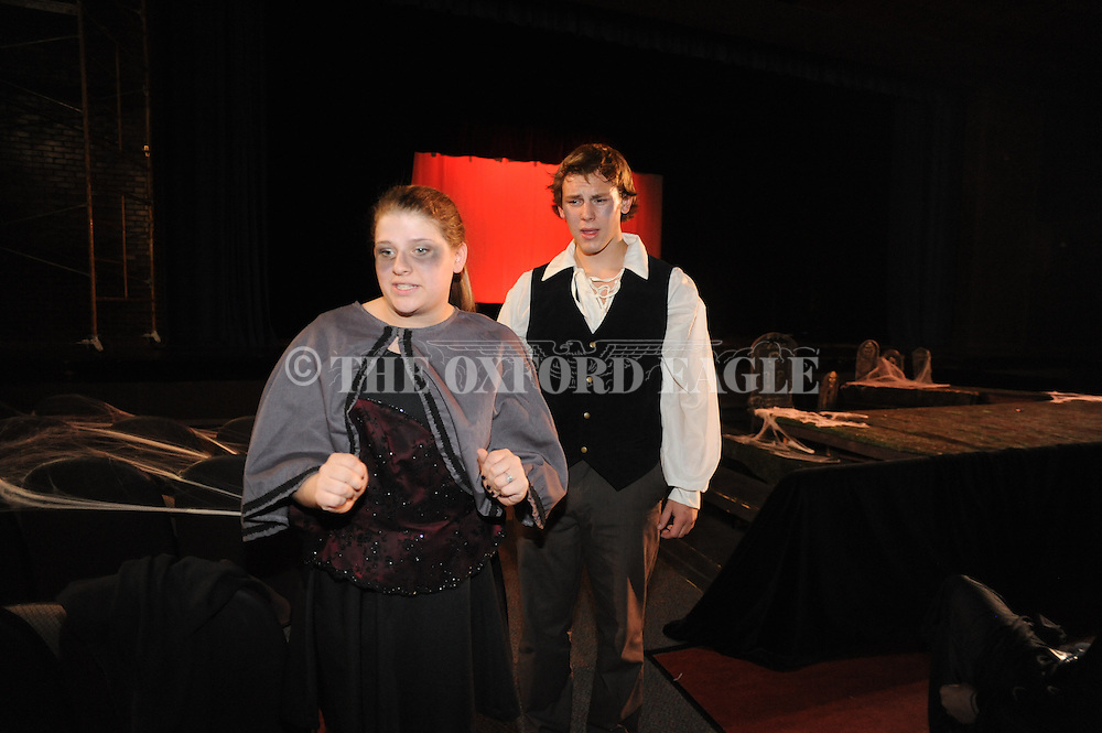 """Oxford High School students Abby Wilson (left) and Martin Bodenheimer rehearse for the production of """"Scream"""" in Oxford, Miss. on Wednesday, October 26, 2011."""