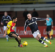 Dundee&rsquo;s James Vincent takes on Partick Thistle's Ryan Edwards - Dundee v Partick Thistle in the Ladbrokes Scottish Premiership at Dens Park, Dundee.Photo: David Young<br /> <br />  - &copy; David Young - www.davidyoungphoto.co.uk - email: davidyoungphoto@gmail.com
