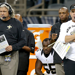 Aug 16, 2013; New Orleans, LA, USA; New Orleans Saints head coach Sean Payton and defensive coordinator Rob Ryan stand on the sideline during the second half of a preseason game at the Mercedes-Benz Superdome. The Saints defeated the Raiders 28-20. Mandatory Credit: Derick E. Hingle-USA TODAY Sports