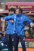 Lincoln City Manager Danny Cowley and his Assistant Nicky Cowley during the EFL Sky Bet League 2 match between Lincoln City and Exeter City at Sincil Bank, Lincoln, United Kingdom on 30 March 2018. Picture by Mick Atkins.