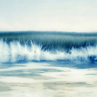 A wave breaking seascape resembling a tidal bore.