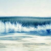 A wave breaking seascape resembling a tidal bore.