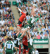 Twickenham, GREAT BRITAIN, Exiles' Bob Casey collects the line out ball, Jean BOUILHOU challenges, during the first half of the  Heineken, Semi Final, Cup Rugby Match,  London Irish vs Toulouse, at the Twickenham Stadium on Sat 26.04.2008 [Photo, Peter Spurrier/Intersport-images]