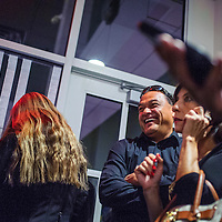 110414       Cable Hoover<br /> <br /> Ron Silversmith laughs and celebrates with family and supporters as early results indicate a victory for Silversmith in the McKinley County Sheriff's race Tuesday at the McKinley County Courthouse.