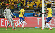 Julio Cesar (left) Fernandinho (centre) and Dante of Brazil look on after conceding their fourth goal during the 2014 FIFA World Cup match at Mineir&atilde;o, Belo Horizonte<br /> Picture by Stefano Gnech/Focus Images Ltd +39 333 1641678<br /> 08/07/2014