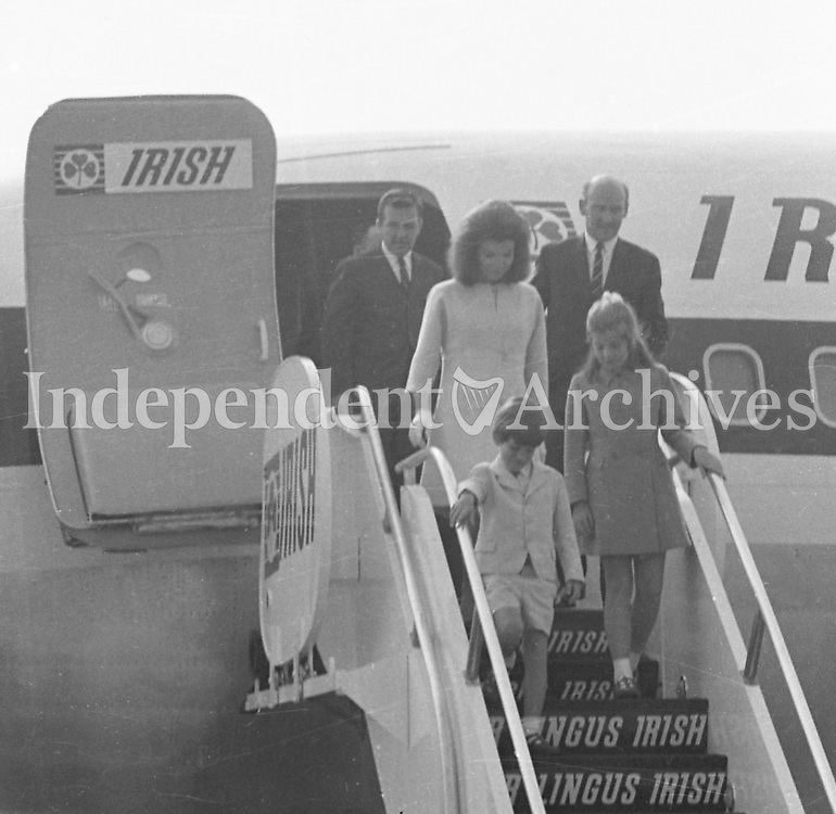 Jacqueline Kennedy's visit to Ireland, June 1967.<br /> (Jacqueline &quot;Jackie&quot; Lee Bouvier Kennedy Onassis)<br /> Jacqueline Kennedy with her children John and Caroline at Shannon Airport.<br /> Getting off the plane.<br /> June 15th 1967.<br /> (Part of the Independent Ireland Newspapers/NLI Collection)