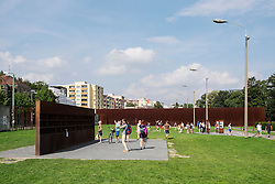 New memorial park at site of Berlin Wall on Bernauer Strasse in Berlin Germany