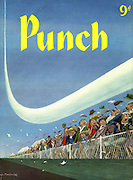 Punch front cover, 5 September 1956 (Spectators are thrilled by a low flying jet plane at an airshow)