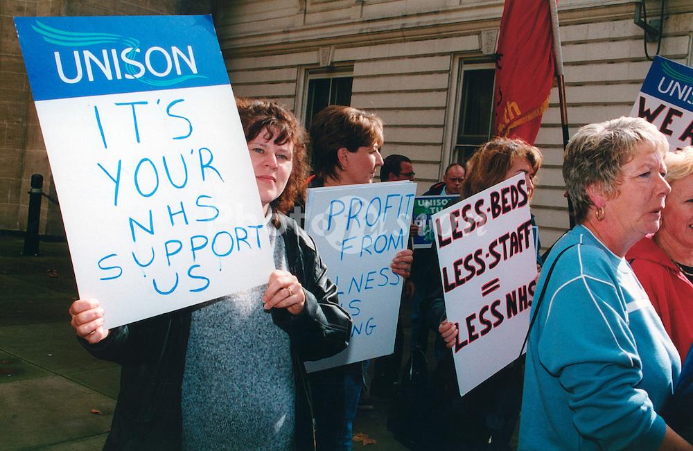 Demonstration against privitisation of the health service; UK September 2000