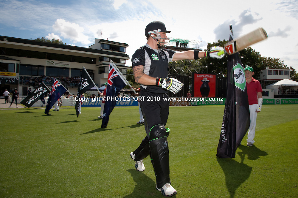 Opening batsman Brendon McCullum enters the field for the start of play at the third one day Chappell Hadlee cricket series match between New Zealand Black Caps and Australia at Seddon Park, won by Australia by 6 wickets in Hamilton, New Zealand. Tuesday 9 March 2010. Photo: Stephen Barker/PHOTOSPORT