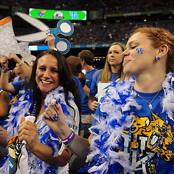 Apr 2, 2012; New Orleans, LA, USA; Kentucky Wildcats fans dance in the stands before the finals of the 2012 NCAA men's basketball Final Four against the Kansas Jayhawks at the Mercedes-Benz Superdome. Mandatory Credit: Derick E. Hingle-US PRESSWIRE