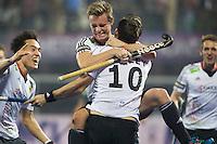 BHUBANESWAR (India) -  Hero Champions Trophy hockey men. Final between Germany and Pakistan. Christopher Wesley (10) of Germany  has scored and celebrates with Mats Grambusch of Germany. left Dan Nguyen Luong of Germany. Photo Koen Suyk