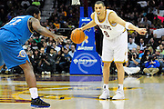 April 13, 2011; Cleveland, OH, USA; Cleveland Cavaliers shooting guard Anthony Parker (18) calls a play under pressure from Washington Wizards guard Othyus Jeffers (12) during the second quarter at Quicken Loans Arena. Mandatory Credit: Jason Miller-US PRESSWIRE