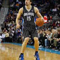 January 12, 2011; New Orleans, LA, USA; Orlando Magic small forward Hedo Turkoglu (15) against the New Orleans Hornets during the second half at the New Orleans Arena. The Hornets defeated the Magic 92-89.  Mandatory Credit: Derick E. Hingle
