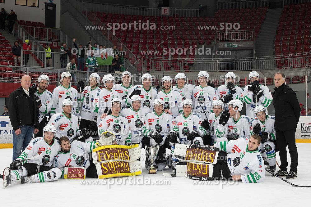 Players of Olimpija celebrate win after ice hockey match between HDD SIJ Acroni Jesenice and HDD Olimpija Ljubljana in Super Cup 2016, on October 11, 2016 in Podmezaklja, Slovenia. Photo by Gregor Podrekar/ Sportida