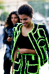 Street style, Tina Kunakey arriving at Balmain Spring-Summer 2019 menswear show held at Ministere des Affaires Etrangeres, in Paris, France, on June 24th, 2018. Photo by Marie-Paola Bertrand-Hillion/ABACAPRESS.COM