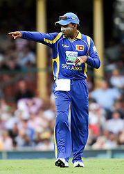 © Licensed to London News Pictures. 17/02/2012. Sydney Cricket Ground, Australia. Recently Re-appointed Sri Lankan captain Mahela Jayawardena points & directs his fielders into position during the One Day International cricket match between Australia Vs Sri Lanka. Photo credit : Asanka Brendon Ratnayake/LNP