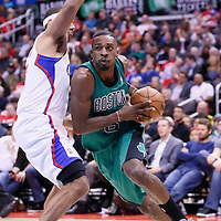 08 January 2014: Boston Celtics small forward Jeff Green (8) drives past Los Angeles Clippers small forward Jared Dudley (9) during the Los Angeles Clippers 111-105 victory over the Boston Celtics at the Staples Center, Los Angeles, California, USA.