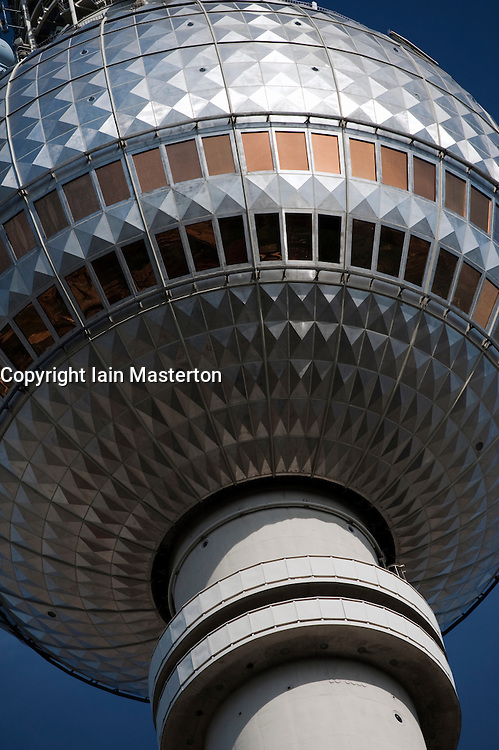 Detail of globe at top of Television Tower at Alexanderplatz in Mitte Berlin