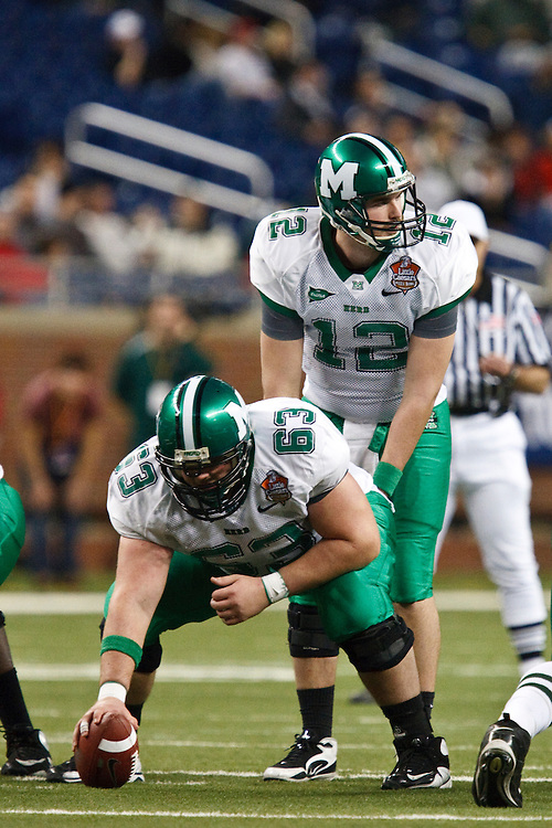 December 26, 2009:  Marshall's Chris Bowers (63) and Brian Anderson (12) during the NCAA: Little Caesars Pizza Bowl - Ohio vs Marshall at Ford Field Detroit, Michigan.