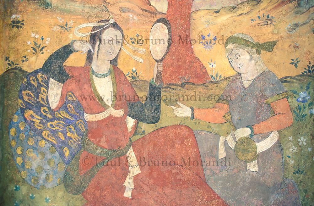 Iran, Esfahan, Ispahan, Chehel Sotun, Palais des quarante colonnes, Fresques