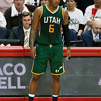 25 April 2017: Utah Jazz forward Joe Johnson (6) waits to enter the game during the Utah Jazz 96-92 victory over the Los Angeles Clippers, during game 5 of the first round of the Western Conference playoffs, at the Staples Center, Los Angeles, California, USA.