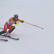 Winter Olympics, Vancouver, 2010.Lei Li, China,  in action during the Alpine Skiing, Men's Slalom at Whistler Creekside, Whistler, during the Vancouver Winter Olympics. 27th February 2010. Photo Tim Clayton