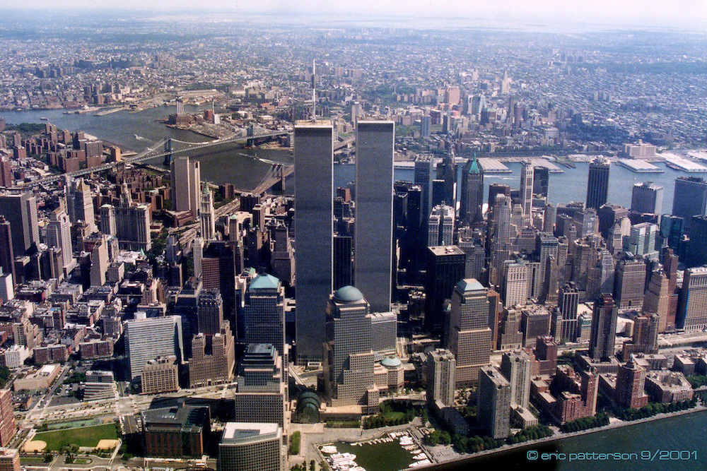 2 September 2001: Aerial view of the World Trade Centers made September 2, 2001, New York City.