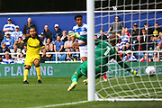 Burton Albion striker Sean Scannell (9) shoots during the EFL Sky Bet Championship match between Queens Park Rangers and Burton Albion at the Loftus Road Stadium, London, England on 23 September 2017. Photo by John Potts.