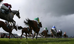 A general view of the last fence in the Killashee Handicap Hurdle during day one of the Punchestown Festival in Naas, Co. Kildare.