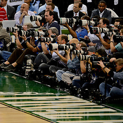 Apr 2, 2012; New Orleans, LA, USA; Photographers along the baseline during the first half in the finals of the 2012 NCAA men's basketball Final Four between the Kansas Jayhawks and the Kentucky Wildcats at the Mercedes-Benz Superdome. Mandatory Credit: Derick E. Hingle-US PRESSWIRE