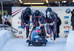 19.01.2020, Olympia Eiskanal, Innsbruck, AUT, BMW IBSF Weltcup Bob und Skeleton, Igls, Bob Viersitzer, Herren 2. Lauf, im Bild Pilot Justin Kripps mit Cameron Stones Cameron, Benjamin Coakwell, Ryan Sommer (CAN) // Pilot Justin Kripps with Cameron Stones Cameron Benjamin Coakwell Ryan Sommer of Canada during their 2nd run of four-man Bobsleigh competition of BMW IBSF World Cup at the Olympia Eiskanal in Innsbruck, Austria on 2020/01/19. EXPA Pictures © 2020, PhotoCredit: EXPA/ Peter Rinderer