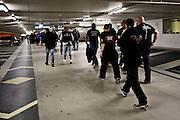 Frankfurt am Main | 20 Jun 2015<br /> <br /> Kundgebung der islamfeindlichen Gruppe &quot;Widerstand Ost West&quot; (WOW) um Ester Seitz, die Rechtspopulisten, rechte Hooligans und Neonazis vereint, auf dem Rossmarkt.<br /> Hier: Nach Ende der Demo werden die gewaltbereiten Hooligans von der Polizei durch das Parkhaus Goetheplatz in die B-Ebene der Hauptwache Frankfurt zu ihrer S-Bahn gef&uuml;hrt.<br /> <br /> Photo &copy; peter-juelich.com