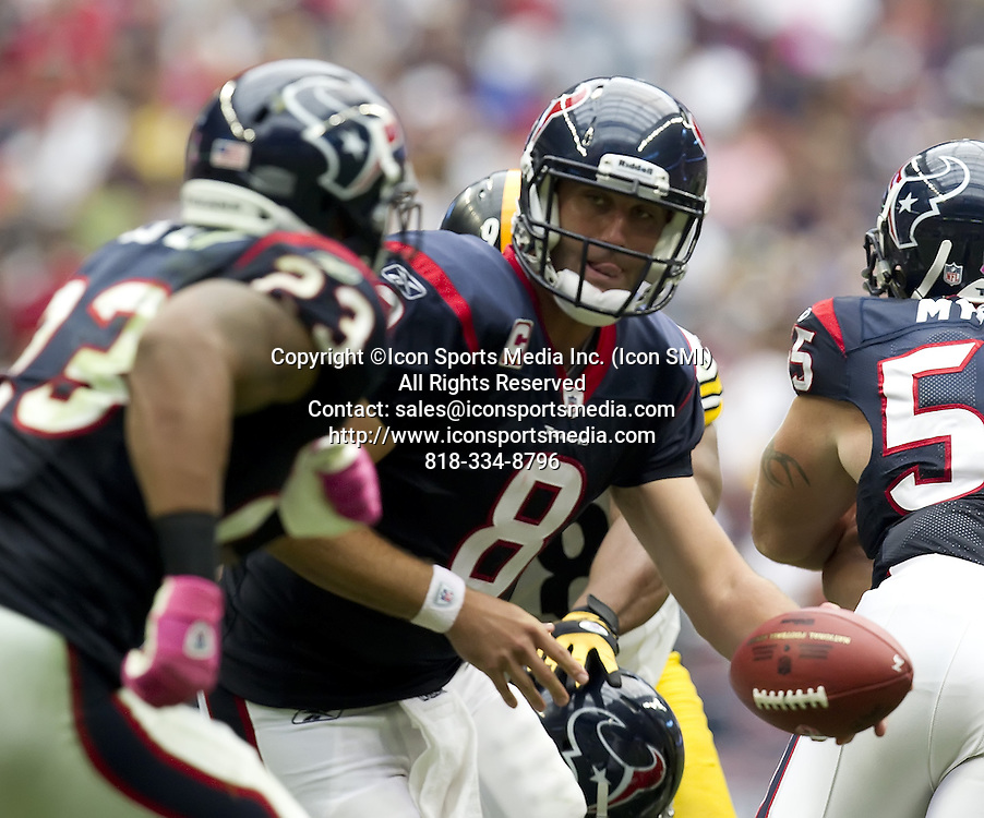 Oct. 2, 2011 - Houston, TX, USA - Matt Schaub (8) of the Houston Texans hands the ball off to  Arian Foster (23) against the Pittsburgh Steelers in the second half of the Texans' 17-10 victory on Sunday, October 2, 2011, in Houston, Texas