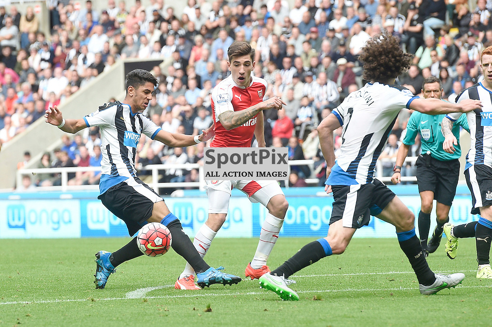 Ayoze Perez (left) and Hector Bellerin (right) in the Newcastle United v Arsenal Barclays Premier League match at St James' Park Newcastle 09 August 2015<br /> <br /> (c) Greg Macvean / SportPix.org.uk
