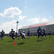 Jeremy Horne dives for the corner at training during the 2013 New York Giants Training Camp at the Quest Diagnostics Training Centre, East Rutherford, New Jersey, USA. 29th July 2013. Photo Tim Clayton.