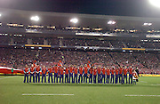 The Lions stand for a moments silence during the 3rd test match between the British and Irish Lions and the All Blacks at Eden Park, Auckland, New Zealand, on Saturday 9 July, 2005. The All Blacks won the match 31-19. Photo: PHOTOSPORT. **NZ USE ONLY**<br />