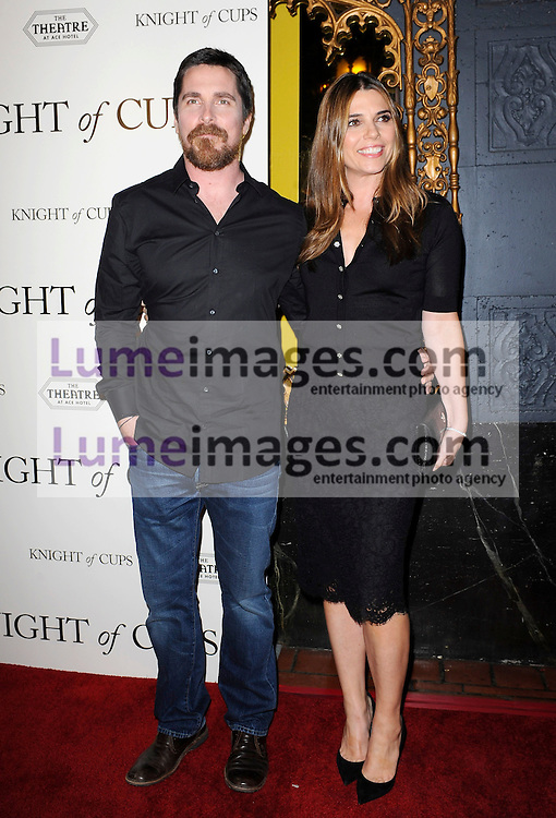 Christian Bale and Sibi Blazic at the Los Angeles premiere of 'Knight Of Cups' held at the Ace Hotel Theatre in Los Angeles, USA on March 1, 2016.