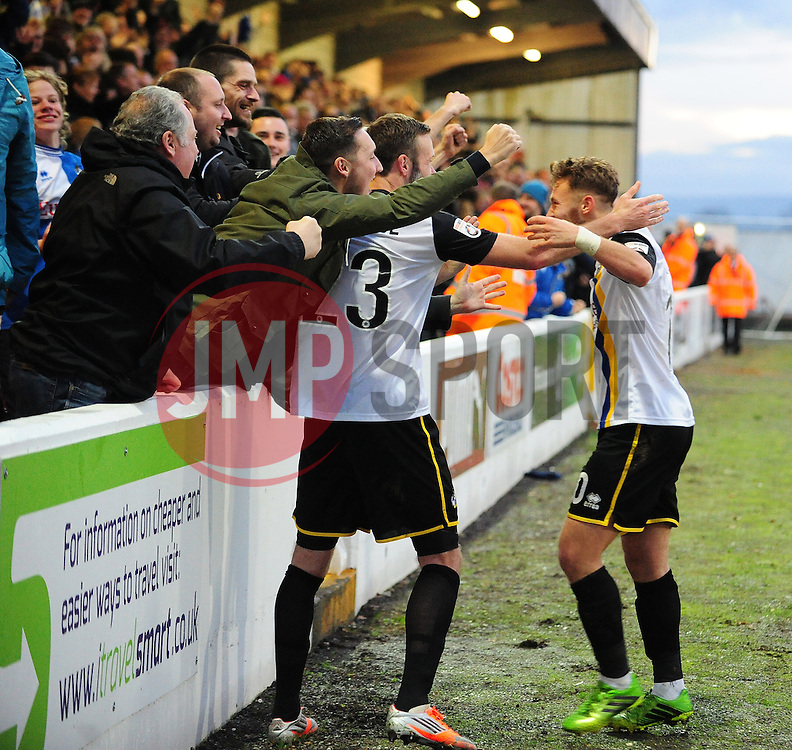 Bristol Rovers' Andy Monkhouse and Bristol Rovers' Matty Taylor celebrate the first goal with the fans - Photo mandatory by-line: Neil Brookman/JMP - Mobile: 07966 386802 - 22/11/2014 - Sport - Football - Chester - Deva Stadium - Chester v Bristol Rovers - Vanarama Football Conference