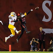 15 September 2018: San Diego State Aztecs cornerback Kyree Woods (27) breaks up a pass in the end zone against Arizona State Sun Devils wide receiver N'Keal Harry (1) in the second quarter. The Aztecs beat the Sun Devils 28-21 at SDCCU Stadium in San Diego, California.