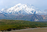 Denali - the High One!  At the Eielsen Visitor Center (about 60 miles in on the park road), looking across the Thorofare River.  Pick out South and North Peak - that would be important if you climb it!