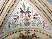 Decorative detail from the area surrounding Castel Sant'Angelo and the Ponte Sant'Angelo in Rome, Italy. Many decorative sculptural and architectural details adorn the length of the bridge, as well as the area surrounding it and the Castel Sant'Angelo. This image shows the painted internal ceilings of the Castle.