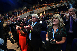 © Licensed to London News Pictures. 02/10/2018. Birmingham, UK. The conference crowd reacts as Former Foreign Secretary BORIS JOHNSON delivering his speech at day three of the 2018 Conservative Party conference at the ICC in Birmingham, where he is due to speak. This years event is focused heavily on Brexit and negotiations with the EU over the UK's exit form the European Union. Photo credit: Ben Cawthra/LNP