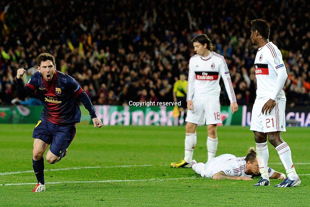 12.03.2013. Nou Camp, Barcelona, Spain. Champions League Barcelona FC versus AC Milan.  Photo shows as Lionel Messi celebrates his first goal