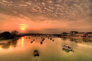 A hazy scene of the River Adur, from Shoreham, Sussex, England.