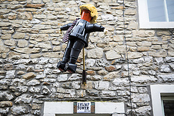 © Licensed to London News Pictures. 07/08/2017. Settle UK. President Donald Trump has made an appearance at this years Settle Flower Pot festival in Settle in the Yorkshire Dales. The festival was started in 2004 & takes place throughout August, it see's local residents make a variety of creation's all made with flower pot's. of Photo credit: Andrew McCaren/LNP