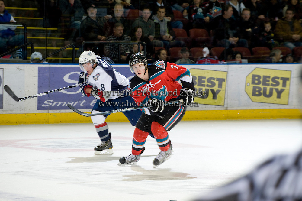 KELOWNA, CANADA, NOVEMBER 30: Damon Severson #7 of the Kelowna Rockets skates on the ice as the Tri City Americans visit the Kelowna Rockets  on November 30, 2011 at Prospera Place in Kelowna, British Columbia, Canada (Photo by Marissa Baecker/Shoot the Breeze) *** Local Caption *** Damon Severson;