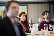 Amanda Toillion listens to a panel discussion during the Business of Cannabis event at the Silicon Valley Capital Club in San Jose, California, on April 4, 2019. (Stan Olszewski for Silicon Valley Business Journal)