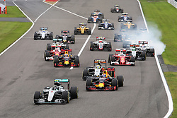 GP von Japan 2016 in Suzuka / 091016<br /> <br /> ***Formula One Grand Prix of Japan on October 9, 2016 in Suzuka.***<br /> <br /> GP von Japan 2016 in Suzuka / 091016<br /> <br /> ***Formula One Grand Prix of Japan on October 9, 2016 in Suzuka.***<br /> <br /> Nico Rosberg (GER) Mercedes AMG F1 W07 Hybrid leads at the start of the race.<br /> 09.10.2016. Formula 1 World Championship, Rd 17, Japanese Grand Prix, Suzuka, Japan, Race Day.<br /> - www.xpbimages.com, EMail: requests@xpbimages.com - copy of publication required for printed pictures. Every used picture is fee-liable. © Copyright: Charniaux / XPB Images
