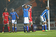Joe Thompson can't believe a chance has been cleared during the EFL Sky Bet League 1 match between Rochdale and Walsall at Spotland, Rochdale, England on 23 December 2017. Photo by Daniel Youngs.